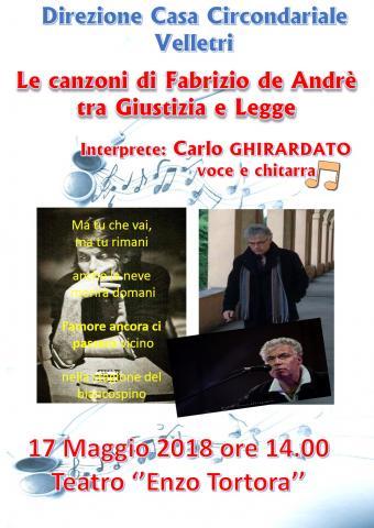 17 maggio 2018, Velletri (RM): Le canzoni di Fabrizio De André tra giustizia e legge