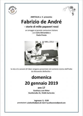 Domenica 20 gennaio 2019 - ore 17,00  L'Associazione ITALIANI A KARLSRUHE (D) organizza una Cena Italiana sulle note di Fabrizio De André.